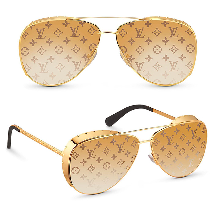 Las Vegas Parano Sunglasses $635.00 Gold-color frame, Brown gradient Monogram lenses, Shell detail around outer frame