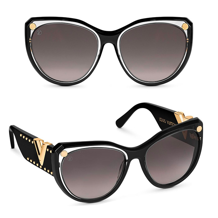 My Fair Lady Studs Sunglasses $635.00 Black/Gold inspired by Louis Vuitton's heritage trunks, the frame is adorned with trunk studs