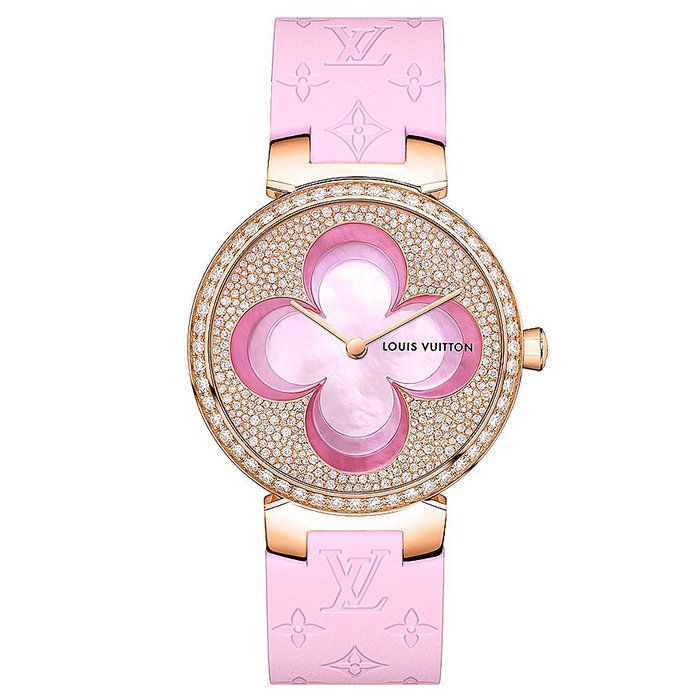 TAMBOUR SLIM COLOR BLOSSOM 35 $47,800.00 18K pink gold case set with 60 diamonds, Sculpted mother-of-pearl flower