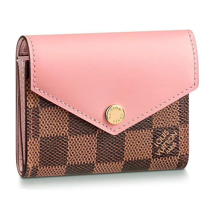 Zoé WALLET $465.00 in Rose Ballerine Pink, L 3.7 x H 3 x W 1.2 inches, Damier Ebene coated canvas and cowhide leather