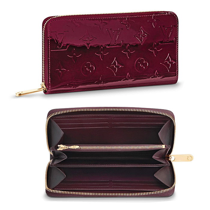 Zippy Wallet $970.00 in Amarante, 7.7 x 3.9 x 0.8 inches, Monogram Vernis patent cowhide leather