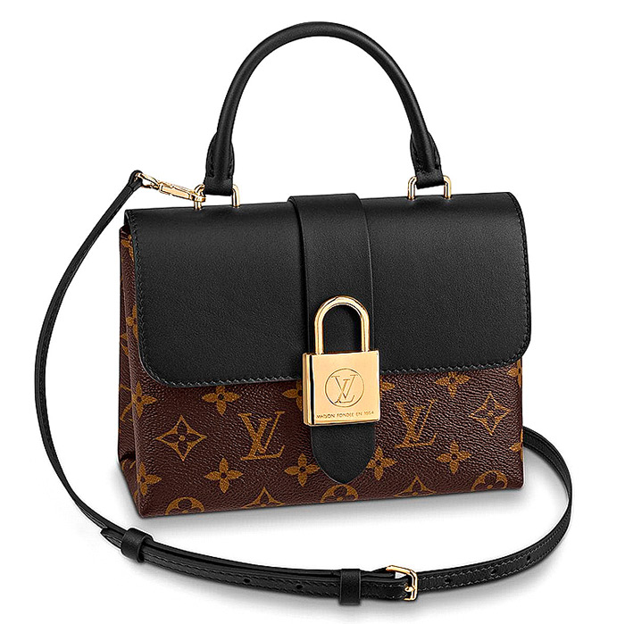 Locky BB in Black $1,650.00 L 7.9 x H 6.3 x W 2.8 inches, Monogram coated canvas and smooth cowhide leather
