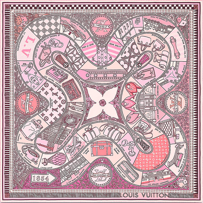 Jeu de Louis Square in pink 35.43 x 35.43 inches 100% silk $485.00