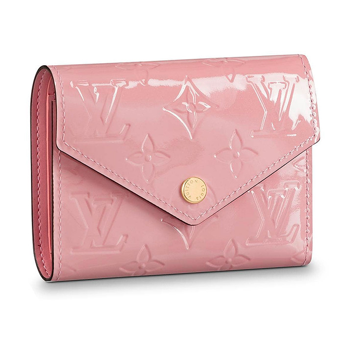 Victorine Wallet $675.00 in Rose Ballerine, 4.7 x 3.7 x 1 inches, Monogram Patent Leather