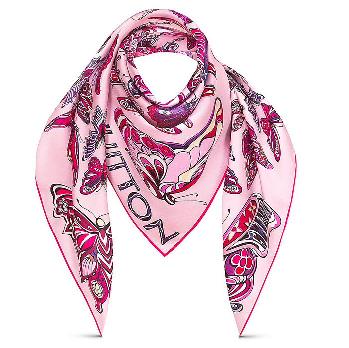 World of Love Square in pink 35.43 x 35.43 inches 100% silk $485.00