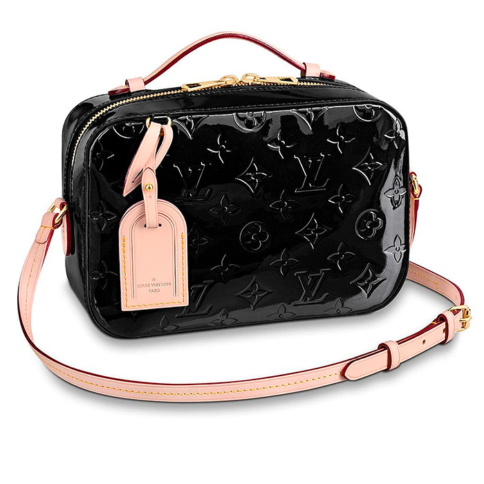 Santa Monica in Black $1,860.00 L 8.7 x H 5.9 x W 2.8 inches, Monogram Vernis patent cowhide