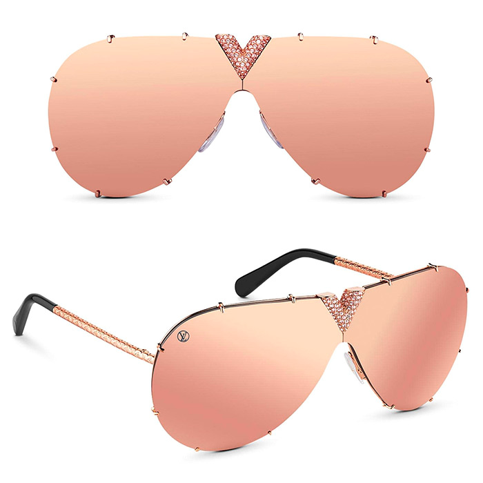 LV Drive Strass Sunglasses $885.00 Rose Gold, delicate pink strass in the central V, statement sunglasses for a wow effect