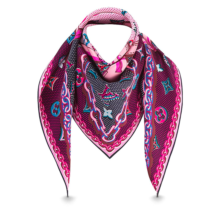 Pop Monogram Square 35.43 x 35.43 inches in Magenta 100% silk $485.00