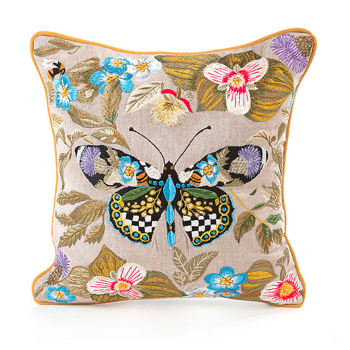 Thistle & Bee Square Pillow - Small