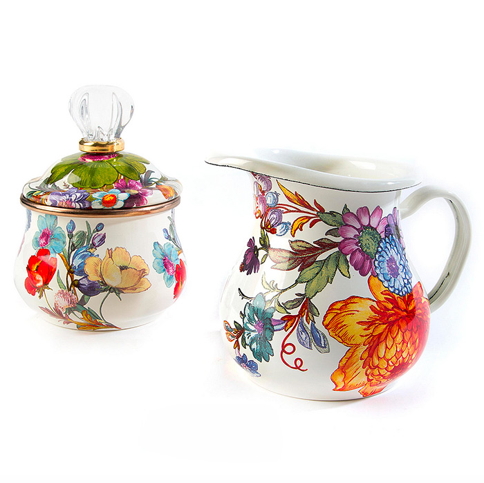 Flower Market Lidded Sugar Bowl  & Flower Market Creamer - White
