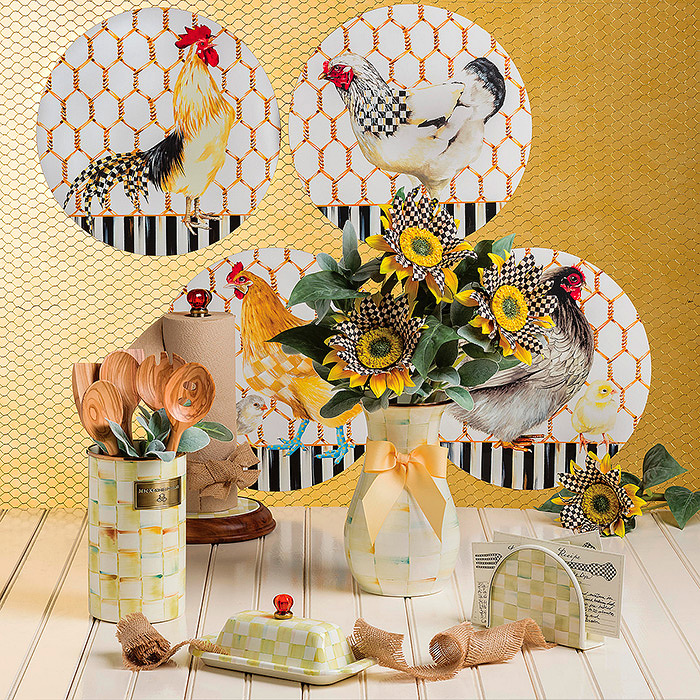 Chicken Coop Placemats & Parchment Check Enamel Vase - Tall