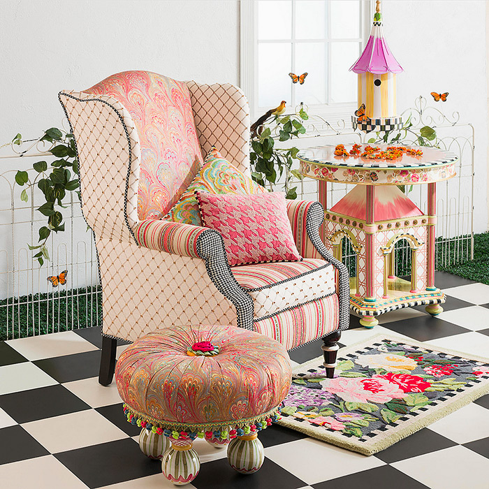 Patisserie Wing Chair, Folly Table & Florentine Tuffet