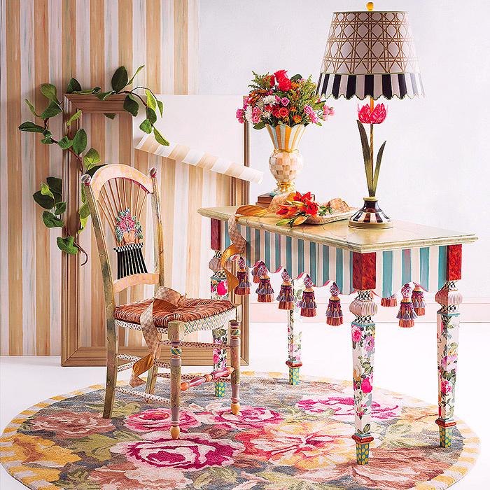 Marble Entry Table  & Light Flower Basket Side Chair