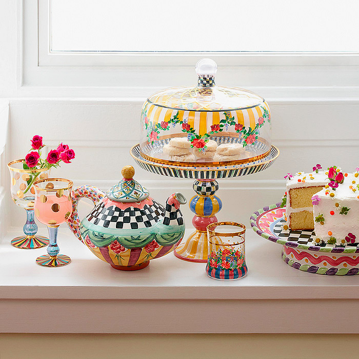 Striped Awning Cake Dome & Stand Set, Taylor Teapot - Odd Fellows