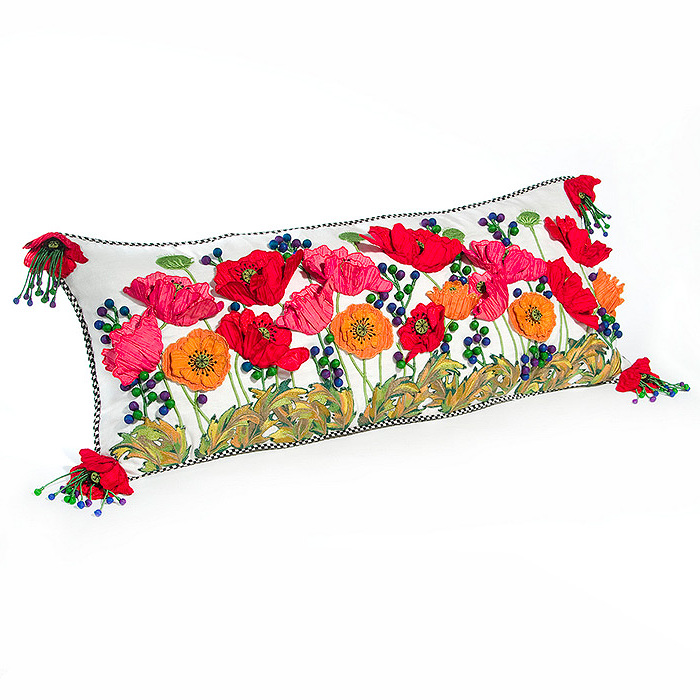 Red Poppy Lumbar Pillow