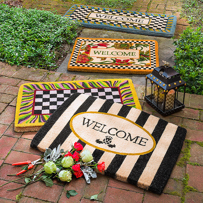 Awning Stripe Welcome Mat & Courtly Check Double Door Entrance Mat