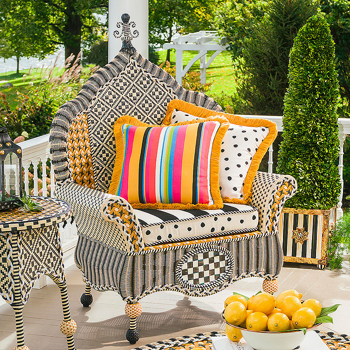 Courtyard Outdoor Wing Chair, Courtyard Outdoor Throw Pillow