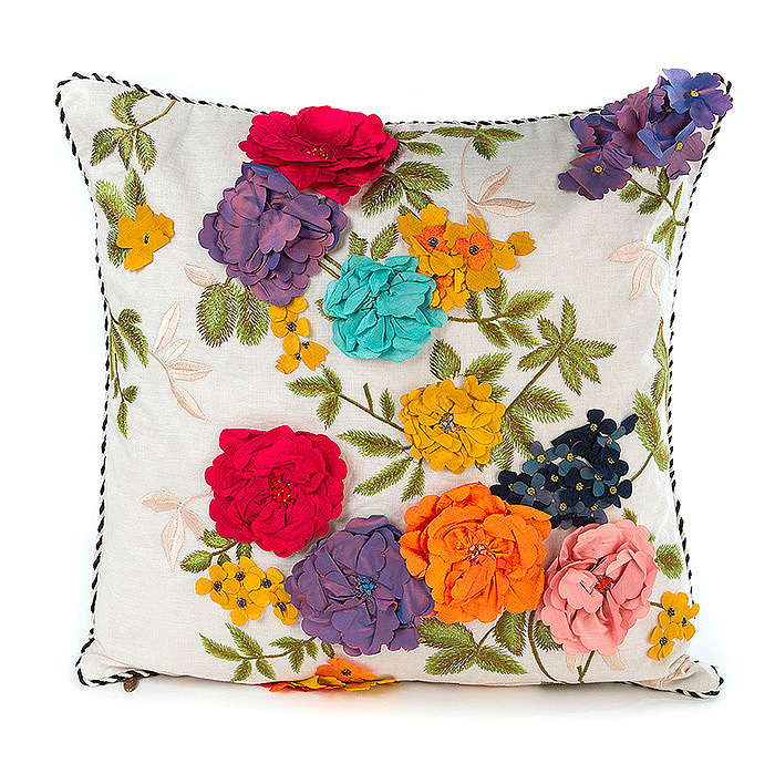 Covent Garden Floral Square Pillow - White