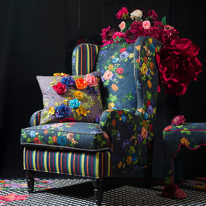 Covent Garden Wing Chair & Covent Garden Floral Square Pillow - Grey