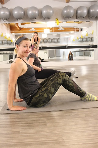 Happy Chris doing her favorite move, tricep dips. With a pointed toe twist of course.