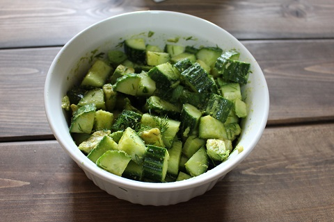 One of the recipes from the Everyday Ayurveda cookbook.  Cucumbers, avocado, lime, dill, cumin, coriander, fennel and salt.