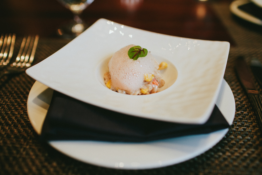 Lobster Risotto with Grapefruit Foam - we ate every last grain of rice in our bowls.