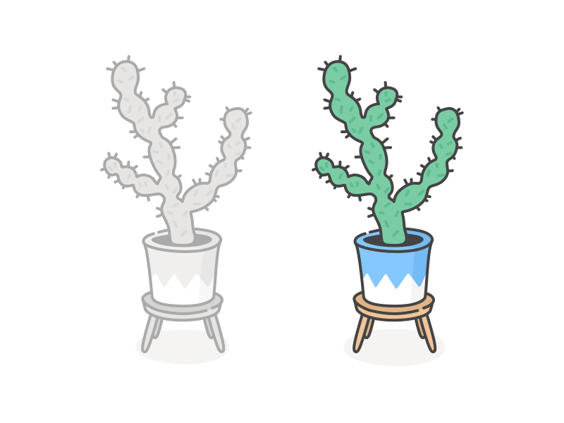 Cactus on a stool by Cécile Parker