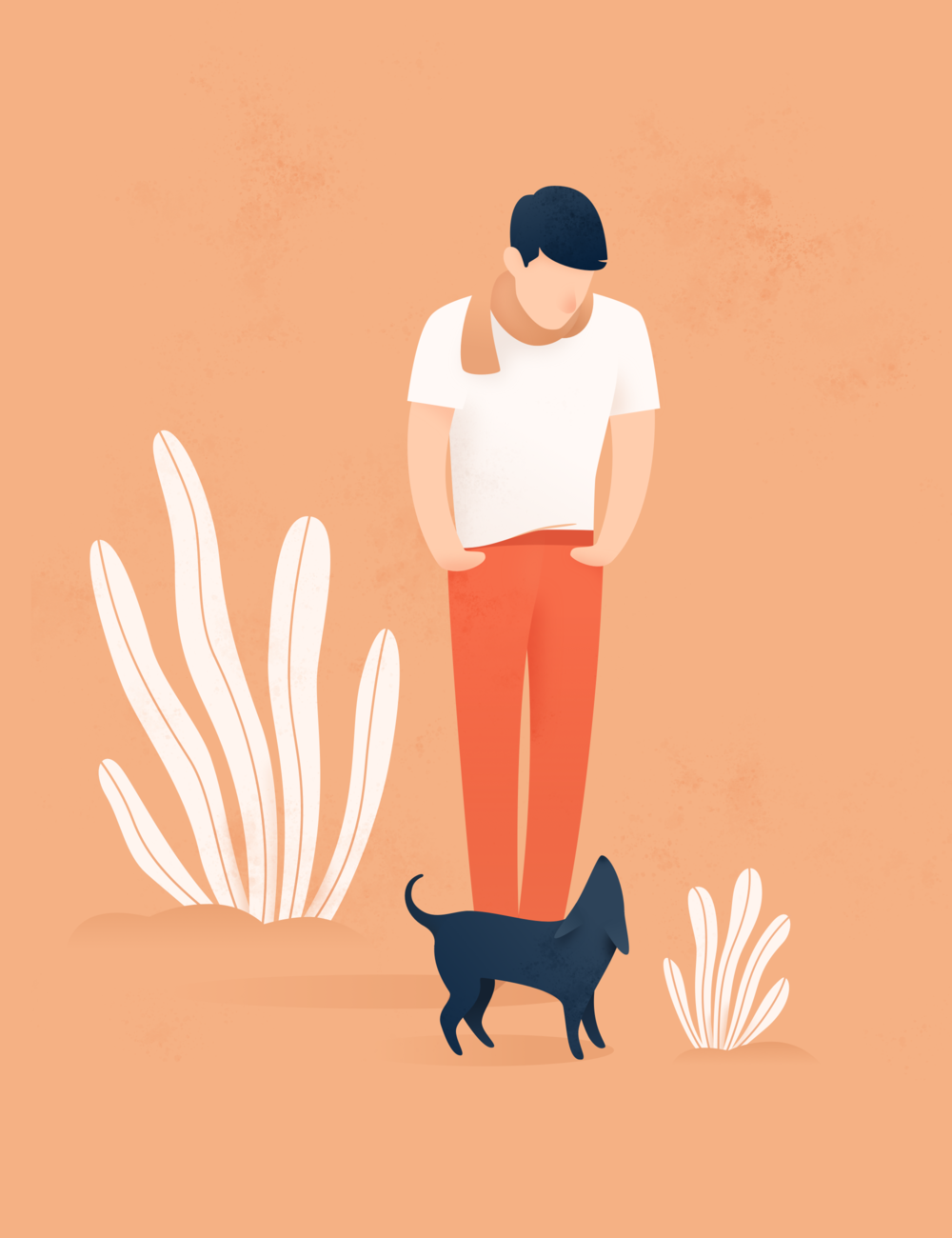 Man and dog illustration