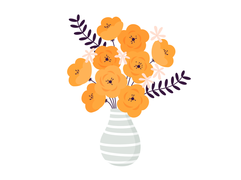 Bouquet of California poppies illustration