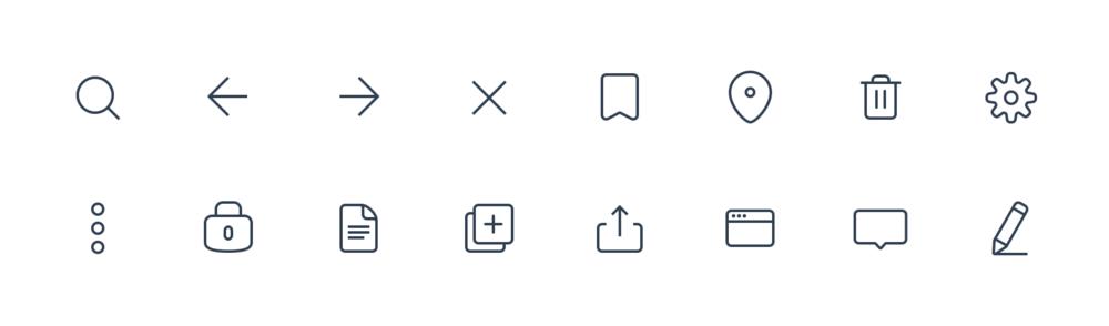 Inflect basic icon set / glyphs