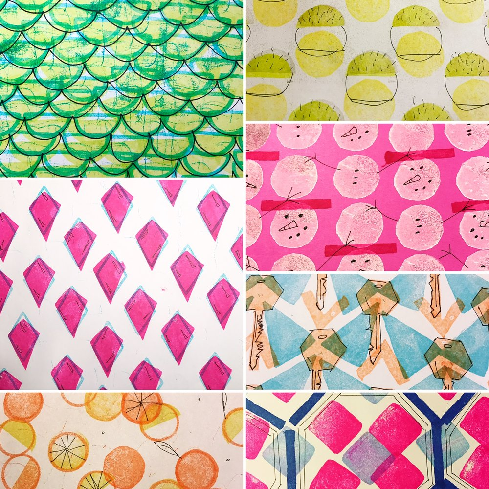 "Clockwise from upper left:  #mermaid, #desert, #snowman, #key, #octagon, #citrus, #starting with ""J"""