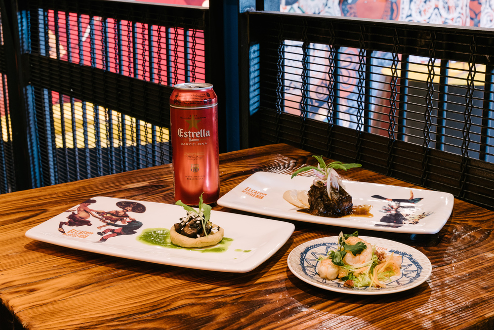 Enjoy Chef Le Calvez's Mexican take on tapas with alongside El Catrin's stunning mural or outside on one of Toronto's best patios.  Photo by Jeffrey Chan courtesy Estrella Damm.