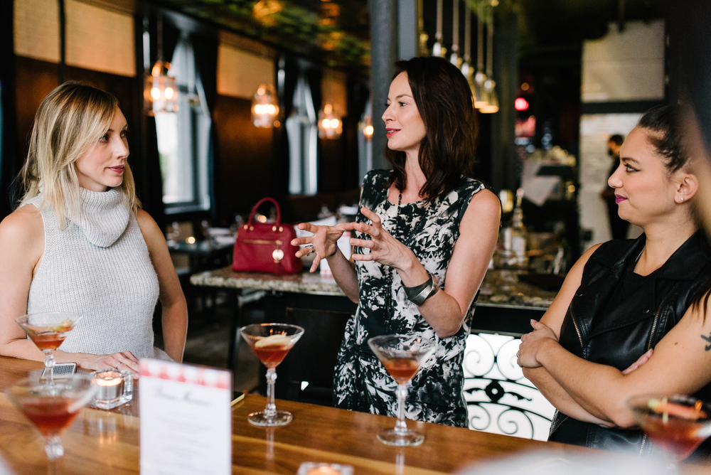 With Chef Christine TIzzard and Cory Lee, chatting over our La Bonne Mere cocktails