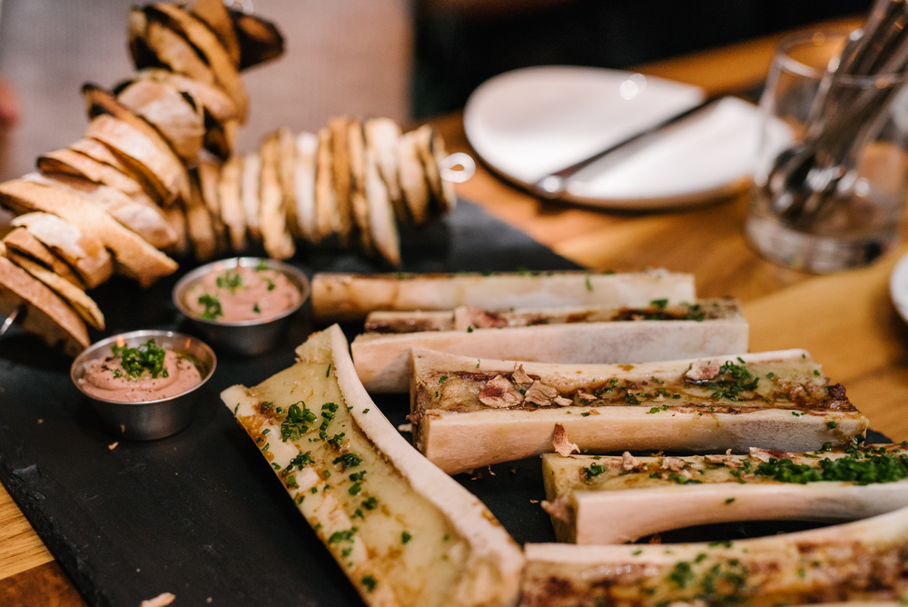 "Roasted Bone Marrow,Chicken Liver & Chestnut Parfait with Grilled Bread. Possibly the world's most perfect food. Or as I like to call it, ""meat butter."""