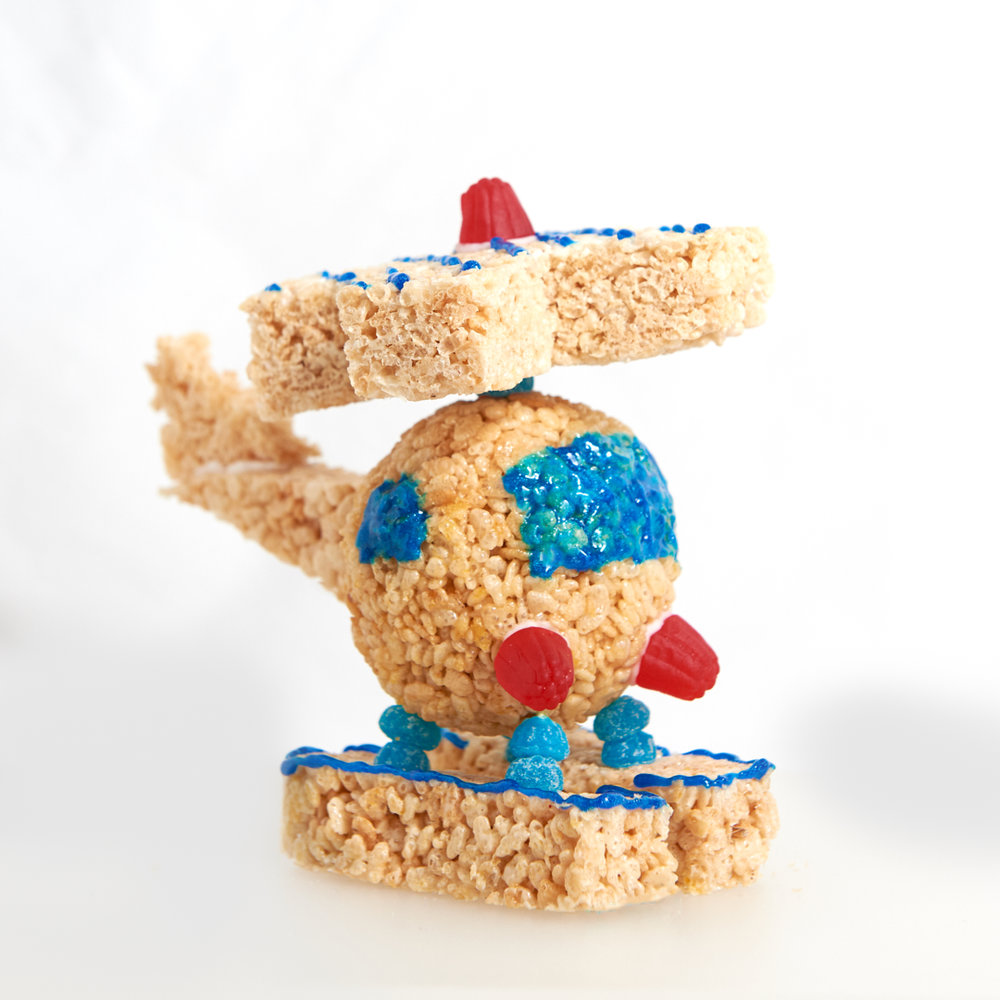 Our Rice Krispies Treats toy helicopter with moving rotors.