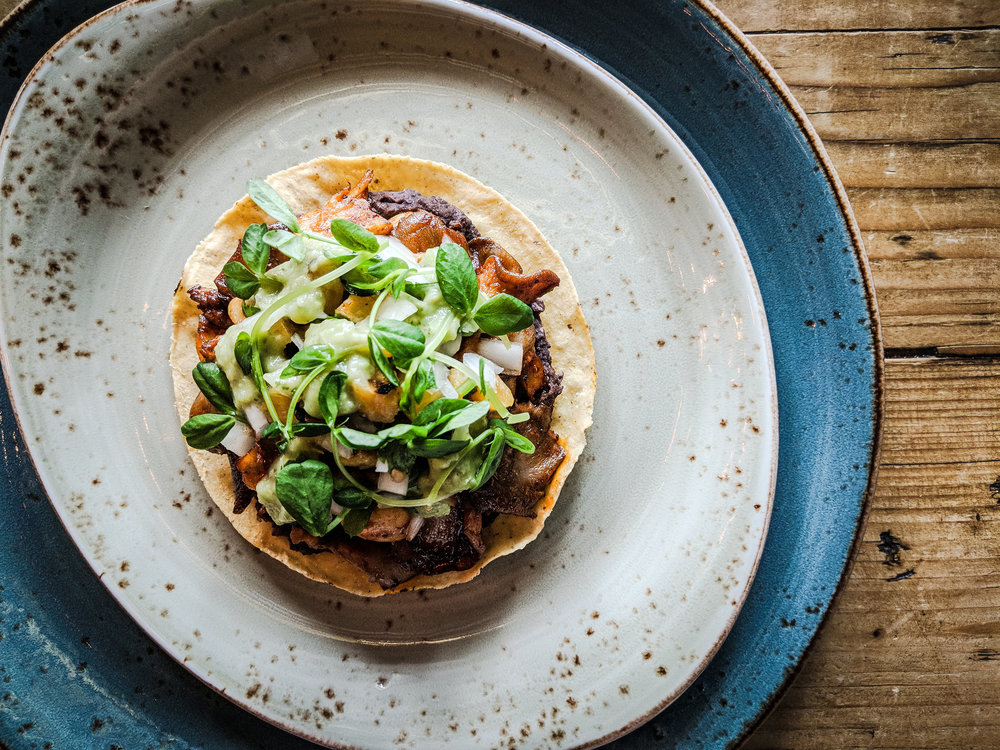 Mushrooms al Pastor Tostada by Chef Elia Herrera, Los Colibiris. Photo by AJ Fernando