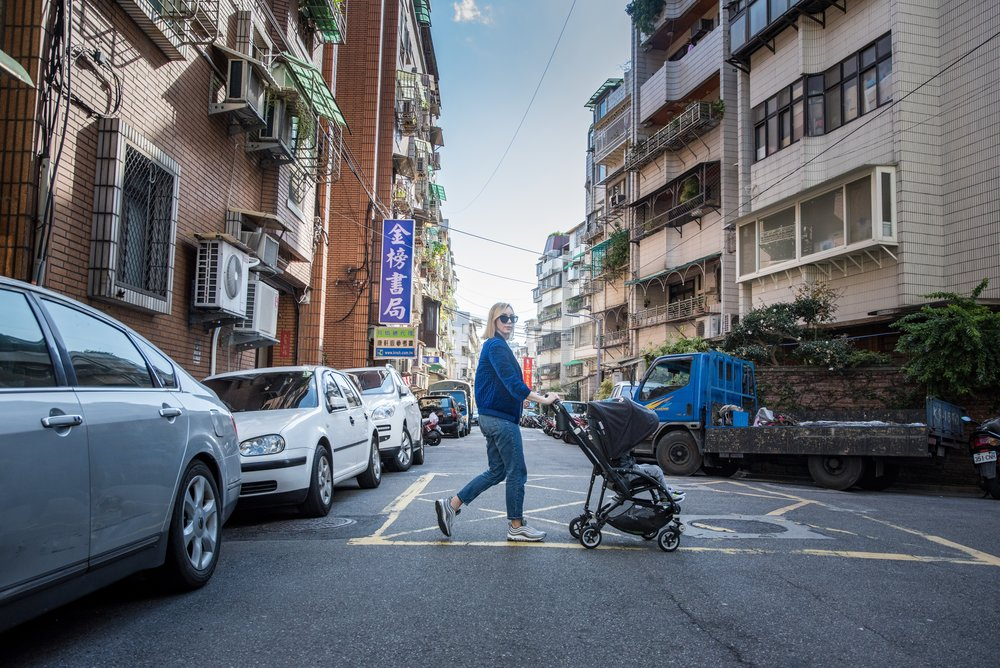 Rolling on the streets and laneways of Zonghan District, Taipei with my son. I could wander forever when I travel, so we were lucky that we had his Bugaboo Bee 5 that he was comfortable with when he wanted to rest. Photo by  Tobias Wang