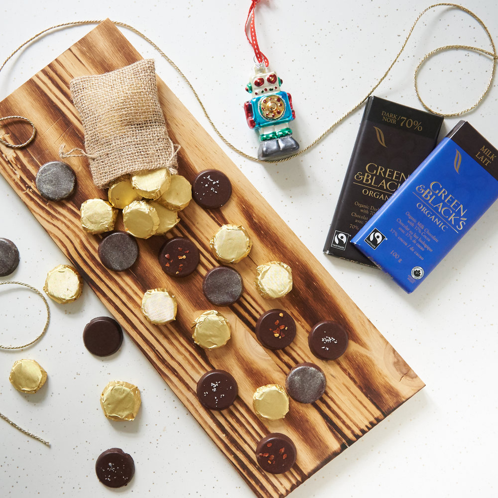 Chocolate coins make a great little gift or treat for Hanukkah or Christmas!  Photo by Tobias Wang.