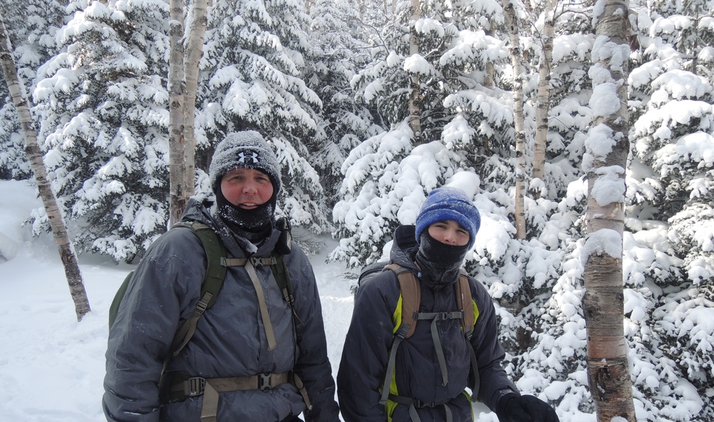 My son, Ryan and I on our way up WRight Peak, ADKS Feb 15 2015