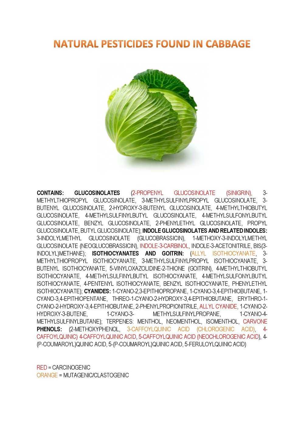 Chemicals Found in Natural Cabbage