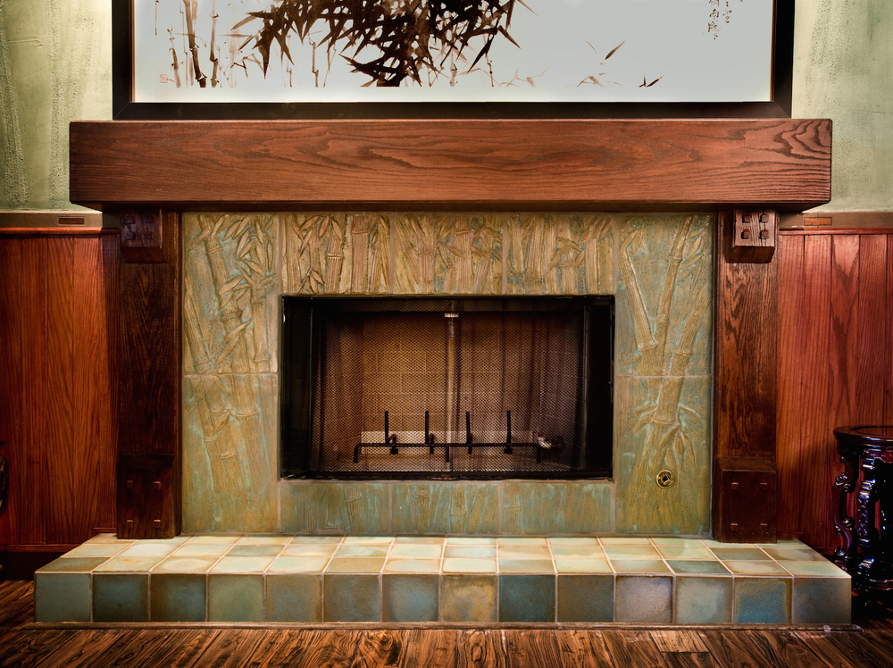 Fireplaces pasadena craftsman tile for Tile designs for fireplaces