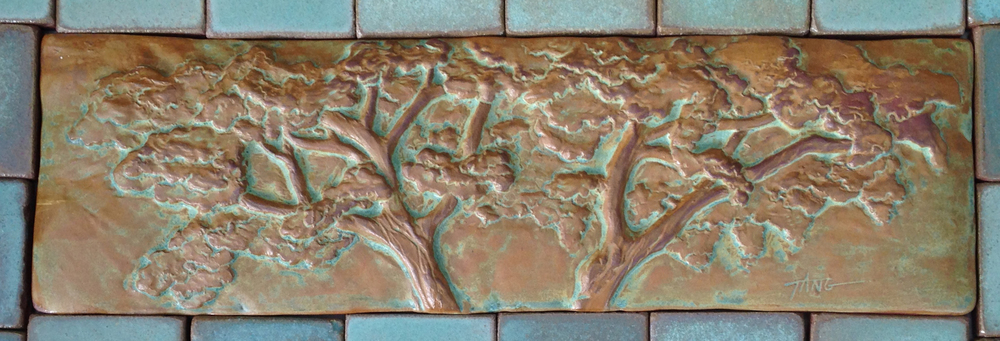 "Long Oak Tree - 19""x5.5"".  Cha-Rie Tang original."