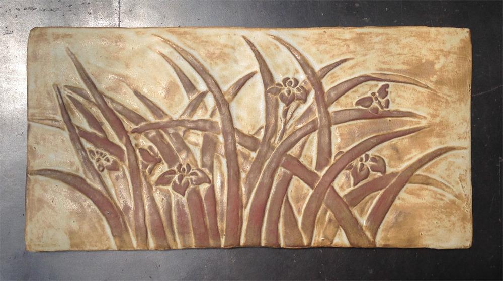 "Iris Centerpiece - 14.5""x7.25"". Cha-Rie Tang original."