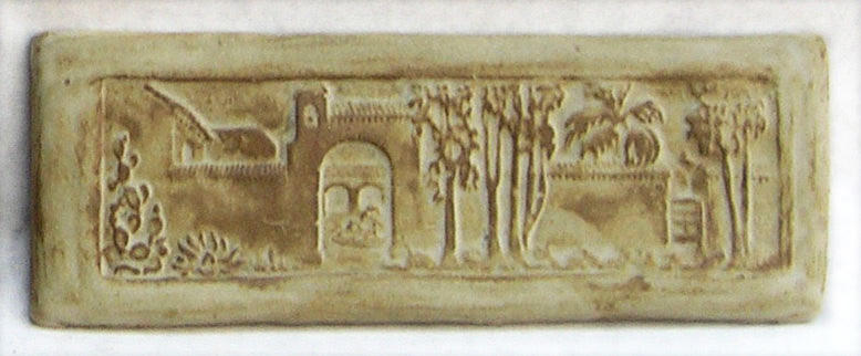 "San Gabriel Mission - 11.25""x4"". Designed by Claycraft."
