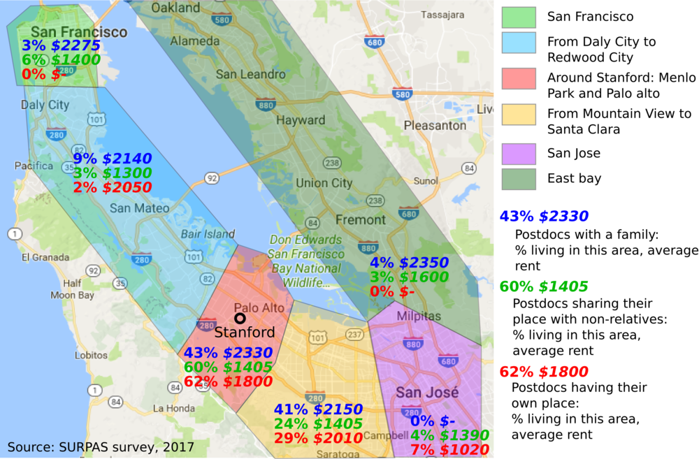 Map of 2017 Stanford Postdoc Rents
