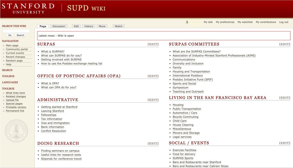 SURPAS WIKI - SURPAS has put together numbers of helpful informations/resources on campus as well as in the bay area, related to Housing, transportation, living in the bay area, administration, careers …etc Find out more details here