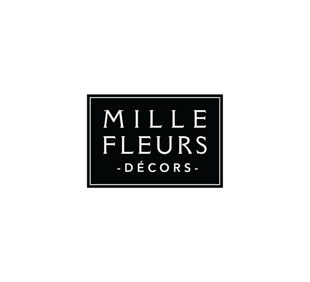 Logo for Mille Fleurs Décors, a New York based supplier of furniture and homegood products, handcrafted in France by craftsmen. The manufacturers of the furniture were all family owned and had belonged to the same family for generations.