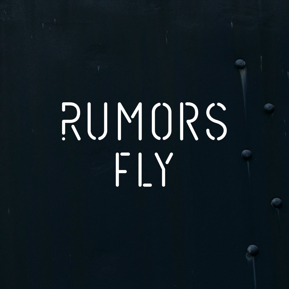 "Logo for Rumors Fly. Rumors Fly was a storytelling exhibition. Along with each product submission participants were required to tell a rumor about their piece. Something true, something false, something that gives an inside look to the creative process. Featured in    Core77's ""Our Favorite Booths at ICFF 2017""."
