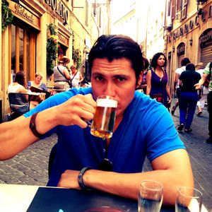 Steve enjoying a cold brew in Rome