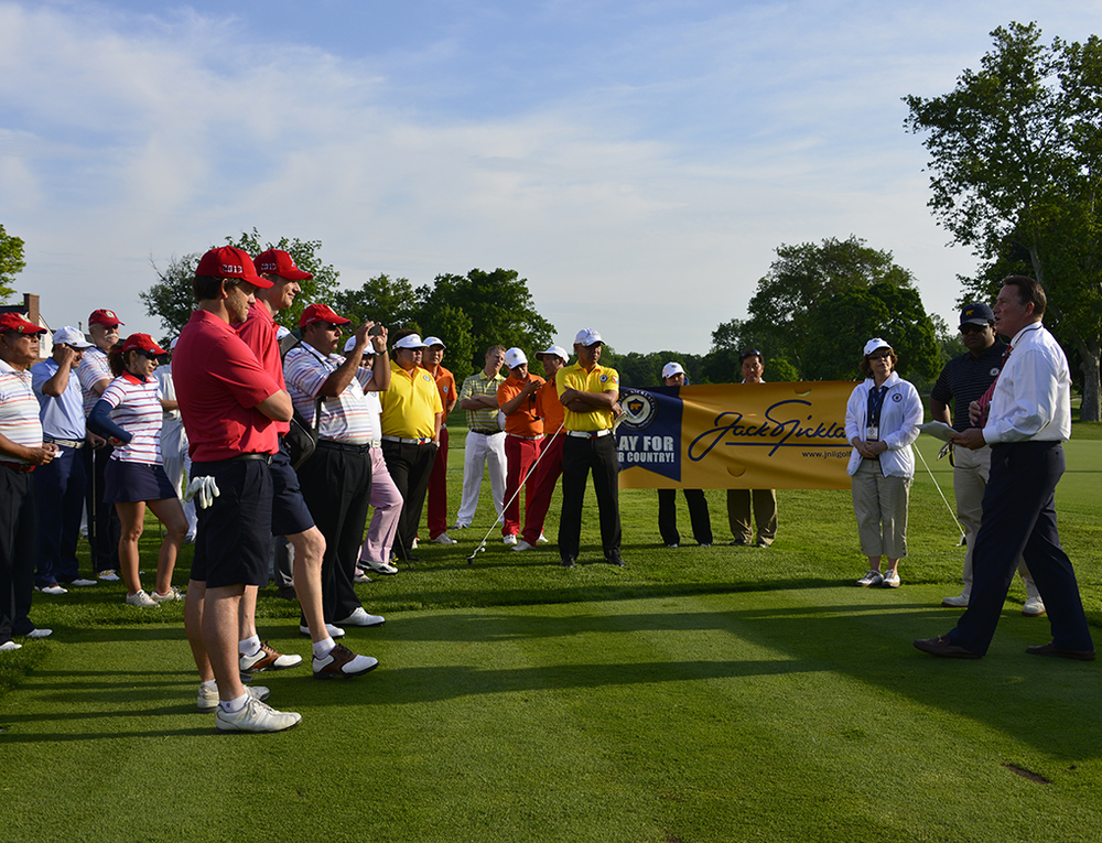 Bill Stines, Head Golf Professional at Scioto Country Club, reviews the rules with players ahead of the 2013 Jack Nicklaus International Invitational Tournament of Champion.  Scioto is the course on which Jack Nicklaus' learned the game of golf.  It will host of the 2016 U.S. Senior Open. (Jim Mandeville, Nicklaus Companies. 2013)